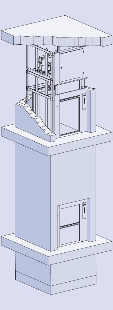 Грузовой лифт BKG вертикально-раздвижные двери на уровне пола